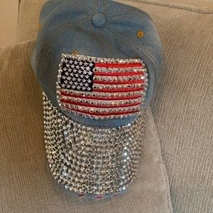 American flag bedazzled hat adjustable never worn